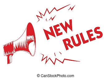 Handwriting text New Rules. Concept meaning A state of changing an iplemented policy for better upgrade Red megaphone loudspeaker important messages screaming speaking loud.