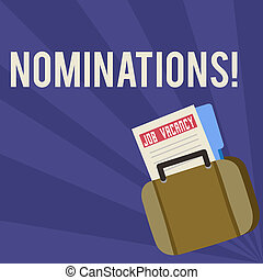 Handwriting text Nominations. Concept meaning Suggestions of someone or something for a job position or prize Announcement File Folder for Employment Opportunity Tucked Inside Briefcase.