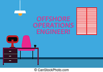 Handwriting text Offshore Operations Engineer. Concept meaning Supervising oil and gas operations in the rig Work Space Minimalist Interior Computer and Study Area Inside a Room photo.