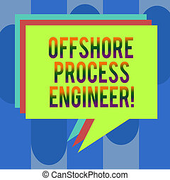 Handwriting text Offshore Process Engineer. Concept meaning Responsible for oil and gas exploration processes Stack of Speech Bubble Different Color Blank Colorful Piled Text Balloon.
