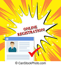 Handwriting text Online Registration. Concept meaning Process to Subscribe to Join an event club via Internet Curriculum Vitae Resume of Young Male Candidate Marked by Colored Checkmark.