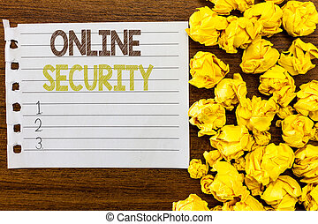 Handwriting text Online Security. Concept meaning rules to protect against attacks over the Internet