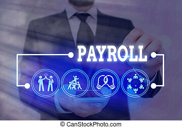 Handwriting text Payroll. Concept meaning total of all compensation business must pay to its employees.