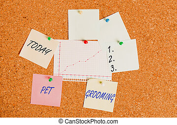 Handwriting text Pet Grooming. Concept meaning hygienic care and enhancing the appearance of the pets Corkboard color size paper pin thumbtack tack sheet billboard notice board.