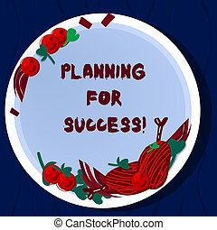 Handwriting text Planning For Success. Concept meaning process of setting goals and key actions to achieve Hand Drawn Lamb Chops Herb Spice Cherry Tomatoes on Blank Color Plate.