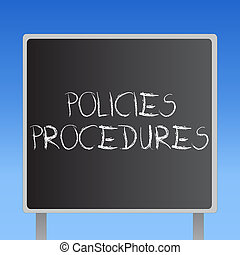 Handwriting text Policies Procedures. Concept meaning Influence Major Decisions and Actions Rules Guidelines