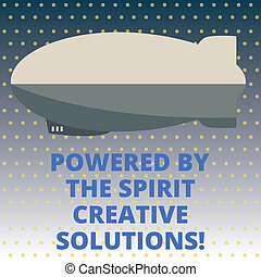 Handwriting text Powered By The Spirit Creative Solutions. Concept meaning Powerful new alternatives ideas Torpedo Missile above a blank Rectangular Shape form for advertisement.