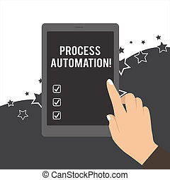 Handwriting text Process Automation. Concept meaning Transformation Streamlined Robotic To avoid Redundancy Female Hand with White Polished Nails Pointing Finger Tablet Screen Off.