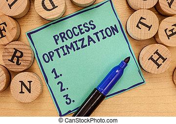 Handwriting text Process Optimization. Concept meaning Improve Organizations Efficiency Maximize Throughput.
