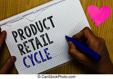 Handwriting text Product Retail Cycle. Concept meaning as brand progresses through sequence of stages Paper register multiline text pen handwriting love heart table background.