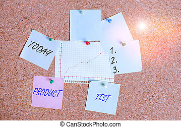 Handwriting text Product Test. Concept meaning process of measuring the properties or performance of products Corkboard color size paper pin thumbtack tack sheet billboard notice board.