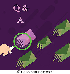 Handwriting text Q And A. Concept meaning a period of time or an occasion when someone answers questions Magnifying Glass on One Different Color Envelope and others has Same Shade.
