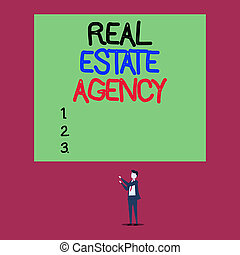 Handwriting text Real Estate Agency. Conceptual photo Business Entity Arrange Sell Rent Lease Manage Properties Isolated view young man standing pointing upwards two hands big rectangle