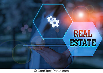Handwriting text Real Estate. Conceptual photo the property consisting of land and the buildings on it