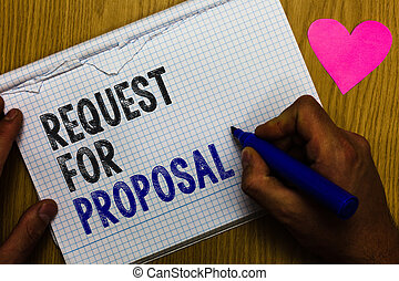 Handwriting text Request For Proposal. Concept meaning document contains bidding process by agency or company Paper register multiline text pen handwriting love heart table background.