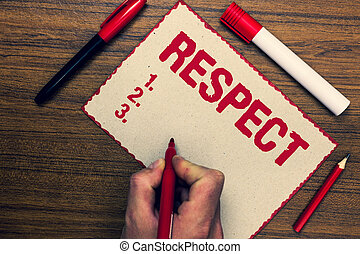 Handwriting text Respect. Concept meaning Feeling of deep...