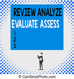 Handwriting text Review Analyze Evaluate Assess. Concept ...