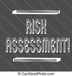 Handwriting text Risk Assessment. Concept meaning evaluating potential risks involved projected activity Seamless Thick Black Stripes and Thin White Lines Slanting at 45 Degrees.