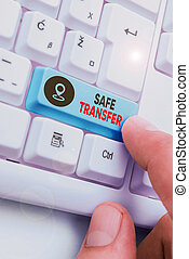 Handwriting text Safe Transfer. Concept meaning electronic funds transfer from one demonstrating to another.