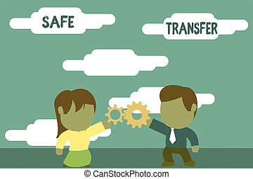 Handwriting text Safe Transfer. Concept meaning Wire...