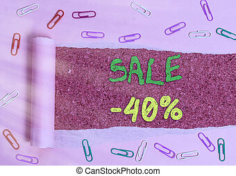 Handwriting text Sale 40 Percent. Concept meaning A promo ...