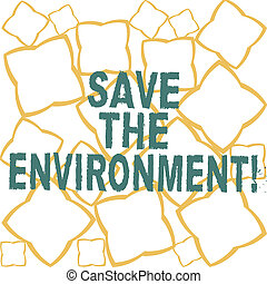 Handwriting text Save The Environment. Concept meaning protecting and conserving the natural resources Ribbon Strips Formed as Geometric Shapes in Seamless Repeat Pattern photo.
