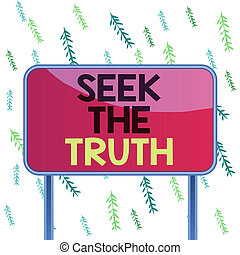 Handwriting text Seek The Truth. Conceptual photo Looking for the real facts Investigate study discover Board ground metallic pole empty panel plank colorful backgound attached
