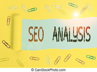 Handwriting text Seo Analysis. Concept meaning tool helps showing to study on how to improve a website ranking.