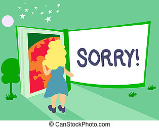 Sorry hailer shows apology apologize and regret  Sorry