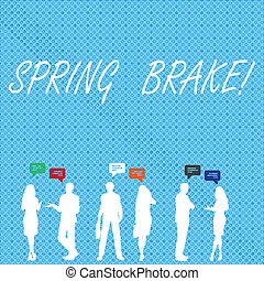 Handwriting text Spring Brake. Concept meaning Easter week School vacation for students Party Relax Leisure.