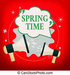 Handwriting text Spring Time. Concept meaning temperate ...