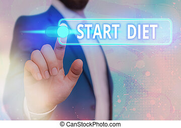 Handwriting text Start Diet. Concept meaning the practice of eating food in a regulated and supervised fashion Graphics padlock for web data information security application system.