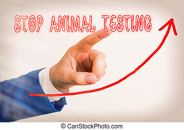 Handwriting text Stop Animal Testing. Concept meaning put an end on animal experimentation or research digital arrowhead curve rising upward denoting growth development concept.