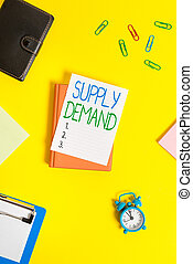 Handwriting text Supply Deanalysisd. Concept meaning Relationship between the amounts available and wanted Paper clips with blank papers for text messages.