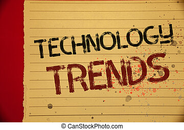 Handwriting text Technology Trends. Concept meaning Trending Modern Viral Advanced Development Trendy New Mellow yellow color page written black and red letters sprinkle colors.