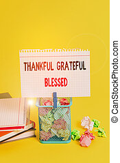 Handwriting text Thankful Grateful Blessed. Concept meaning Appreciation gratitude good mood attitude Trash bin crumpled paper clothespin empty reminder office supplies yellow.