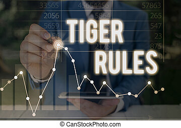 Handwriting text Tiger Rules. Concept meaning Willpower and ...