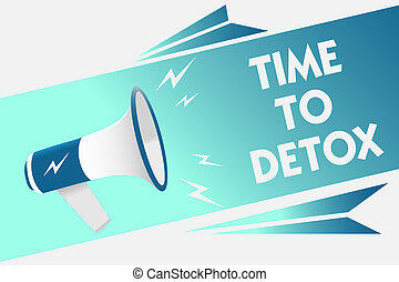 Handwriting text Time To Detox. Concept meaning Moment for Diet Nutrition health Addiction treatment cleanse Megaphone loudspeaker speech bubble important message speaking out loud.