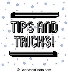 Handwriting text Tips And Tricks. Concept meaning means piece advice maybe suggestion how improve Seamless Blue Polka Dots Tiny Circles Pattern in Random on White Isolated.