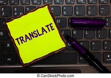 Handwriting text Translate. Concept meaning Another word...