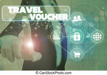 Handwriting text Travel Voucher. Concept meaning Tradable transaction type worth a certain monetary value.