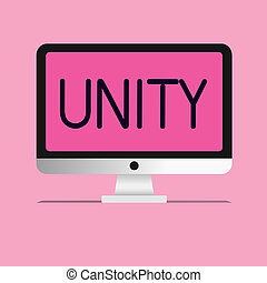 Handwriting text Unity. Concept meaning state of being united or joined as whole becoming one person