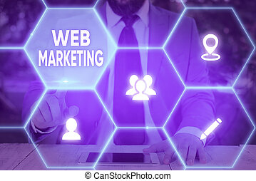 Handwriting text Web Marketing. Concept meaning The process of using the Internet to market the business.