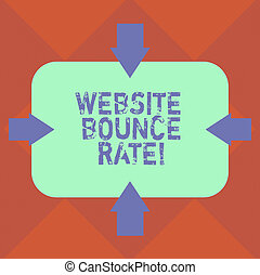Handwriting text Website Bounce Rate. Concept meaning Internet marketing term used in web traffic analysis Arrows on Four Sides of Blank Rectangular Shape Pointing Inward photo.