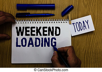 Handwriting text Weekend Loading. Concept meaning Starting Friday party relax happy time resting Vacations Man holding marker notebook clothespin reminder wooden table cup coffee.