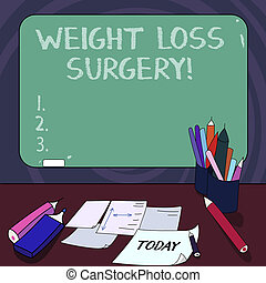 Handwriting text Weight Loss Surgery. Concept meaning do on stomach intestines to help demonstrating extreme obesity Mounted Blank Color Blackboard with Chalk and Writing Tools Sheets on Desk.