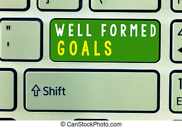 Handwriting text Well Formed Goals. Concept meaning Inner Coaching Straight forward objectives or target