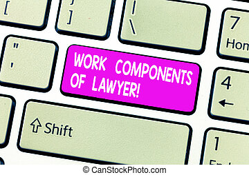 Handwriting text Work Components Of Lawyer. Concept meaning Lawyers laws documents decisions agreements Keyboard key Intention to create computer message, pressing keypad idea.