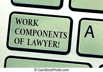 Handwriting text Work Components Of Lawyer. Concept meaning...
