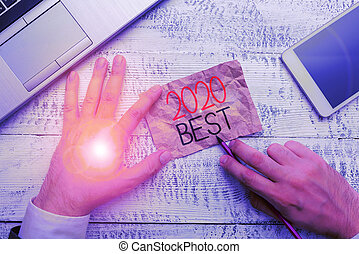 Handwriting text writing 2020 Best. Concept meaning Highest ...